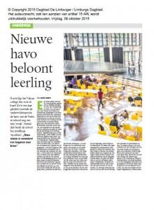 201510 - Limburgs Dagblad - Nieuwe Havo beloont leerling